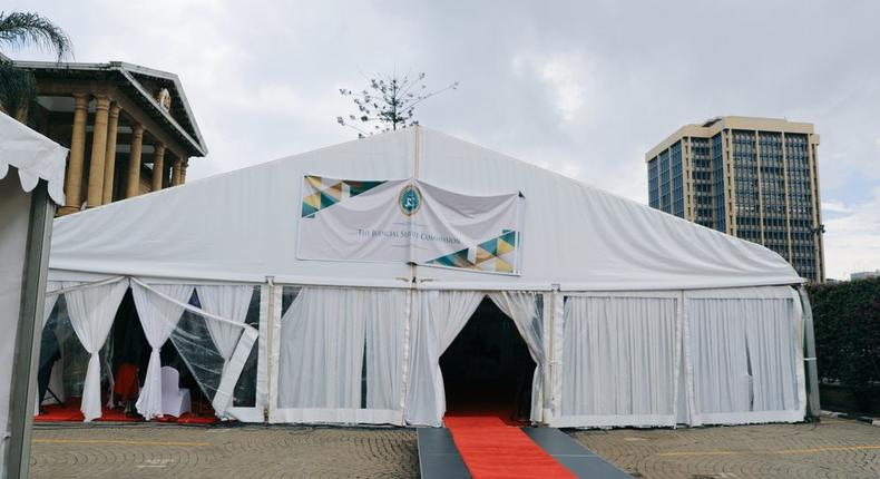 Tent where the Judicial Service Commission (JSC) has been holding interviews for the Chief Justice position