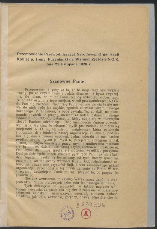 Przemówienie Przewodniczącej Narodowej Organizacji Kobiet Ireny Puzynianki na Walnym Zjeżdzie N.O.K. dnia 25 listopada 1928 r.