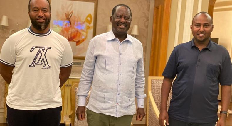 Mombasa Governor Hassan Joho (L) and Suna East MP Junet Mohamed (R) when they visited former Prime Minister Raila Odinga (C) in Dubai