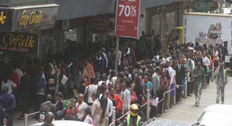 File image of thousands of unemployed Kenyans who turned up for a recruitment drive in Nairobi