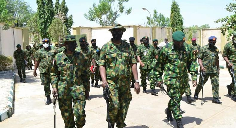 The Service Chiefs, led by the Chief of Defence Staff, Gen. Lucky Irabor visit Zamfara. [Defence Headquarters Nigeria]