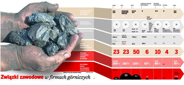 Związki zawodowe w firmach górniczych