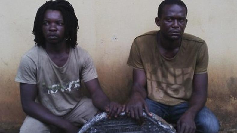 Earnest Young and Rasheed Tamiyu arrested for man-hole vandalism in Lagos