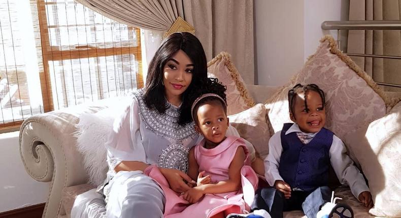 Zari Hassan with her Kids Nillan and Tiffah. Zari's caption on her daughters photo has raised Eyebrows