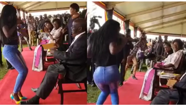 Ugandan vice president nearly ran out of endurance as daredevil musician twerks in his presence (video)