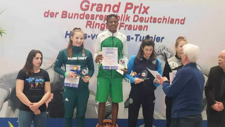 Nigerian wrestler Odunayo Adekuoroye wins gold at German Grand Prix event (Twitter/Keemlawal47)