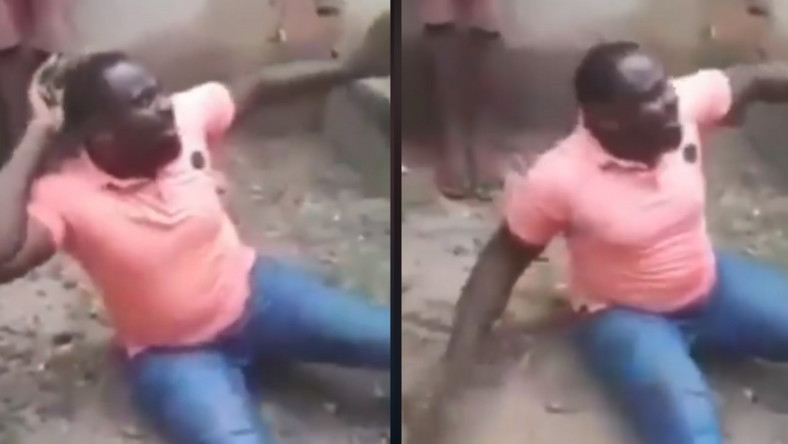 Angry residents flog the libido out of a macho man who was caught trying to rape his brother's wife (video)