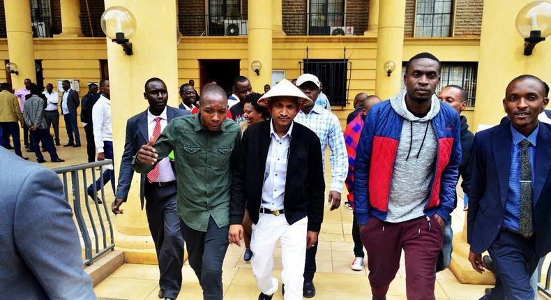 Embakasi East MP Babu Owino wears ridiculous hat to show solidarity with Starehe MP Charles Njagua alias Jaguar
