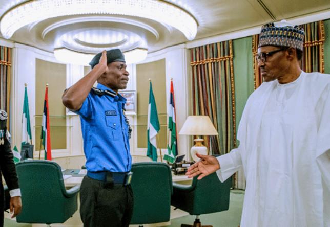 The Inspector-General of Police (IGP), Mohammad Adamu salutes President Muhammadu Buhari. (Channels TV)