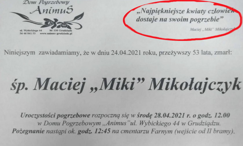 """Nie żyje Maciej """"Miki"""" Mikołajczyk. Koledzy w jego nekrologu umieścili te słowa!"""