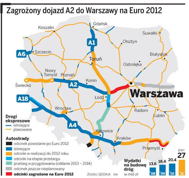 Zagrożony dojazd A2 do Warszawy na Euro 2012