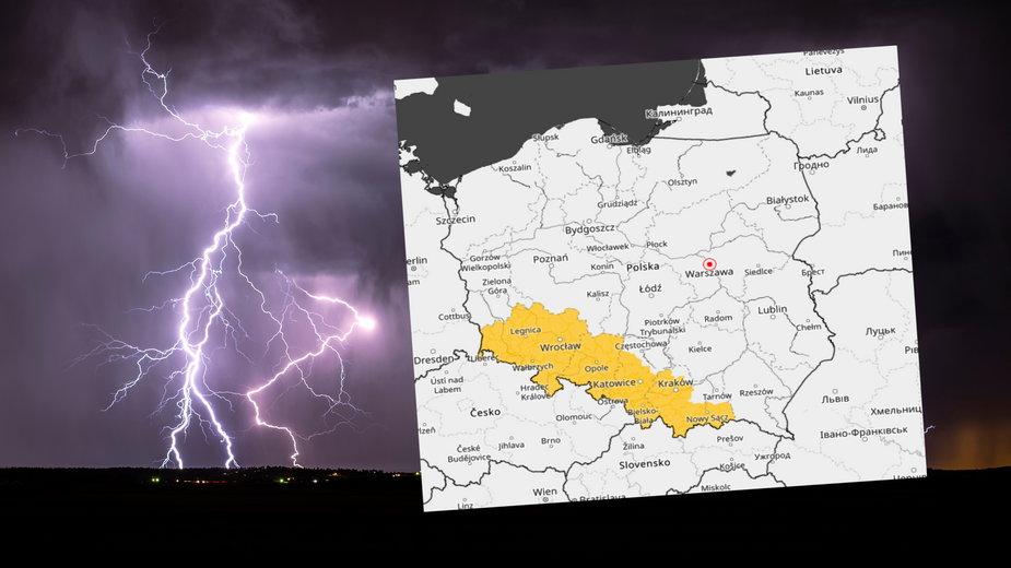 Ostrzeżenia IMGW przed burzami z gradem dla czterech województw