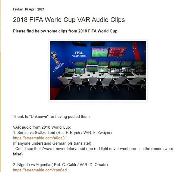 Fudbalski blog na kome su objavljeni audio snimci iz VAR soba sa Mundijala u Rusiji