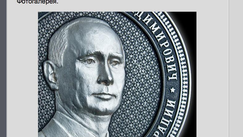 Prezydent Rosji Władimir Putin na okolicznościowym medalu (źródło: www.1kg-gift.ru)