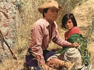 The actors Robert Blake and Katharine Ross in a scene from the movie Tell Them Willie Boy Is Here, 1969