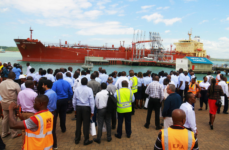 Delegates watch as the oil tanker Celsius Riga prepares to sail off with over 200,000 barrels of Kenya's first oil export, from the port of Mombasa, Kenya August 26, 2019.