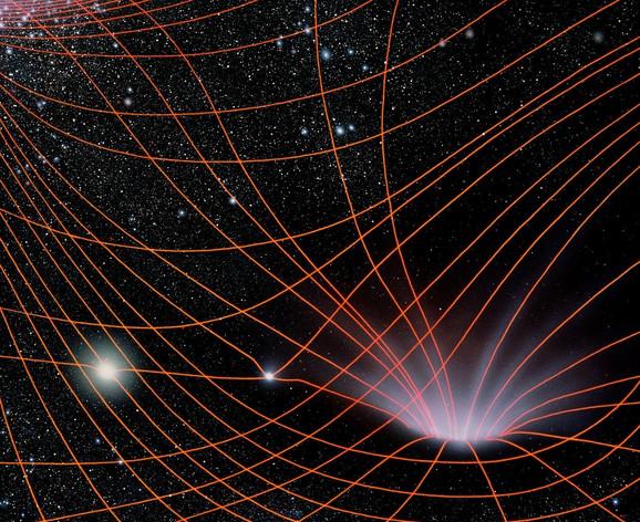 Ajnštajn tvrdi da ono što mi opažamo kao gravitaciju proizilazi iz zakrivljenosti prostora i vremena