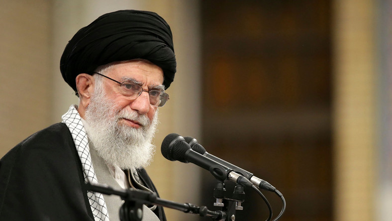 In this picture released by the official website of the office of the Iranian supreme leader, Supreme Leader Ayatollah Ali Khamenei speaks to a group of residents of the city of Qom, in Tehran, Iran, Wednesday, Jan. 8, 2020. Ayatollah Khamenei said