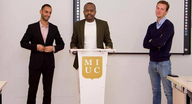 Davidson Wakairu addressing students at Marbella International University Centre (MIUC)