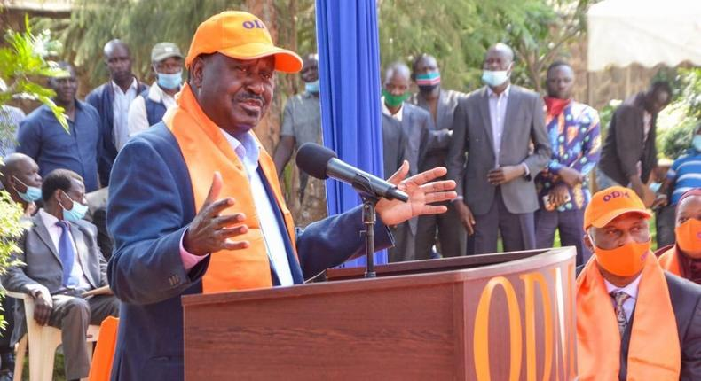 ODM party leader Raila Odinga during an event at Chungwa House