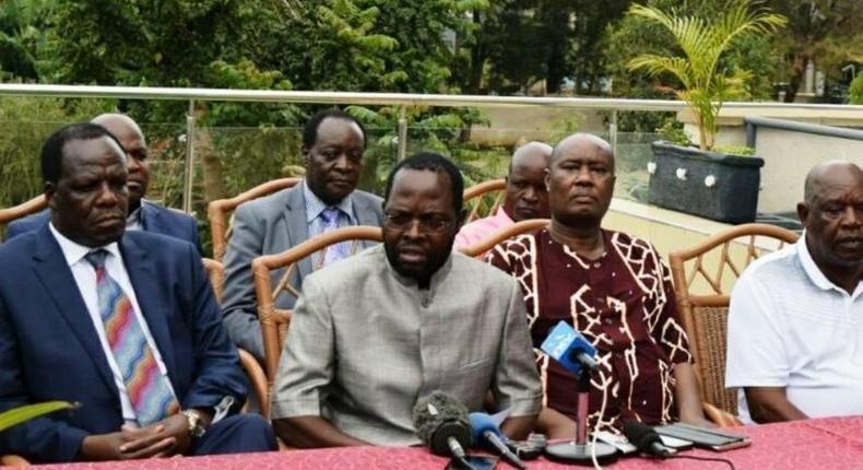 Governors Wycliffe Oparanya (Kakamega), Anyang Nyong'o (Kisumu) , Sospeter Ojaamong (Busia), John Nyagarama (Nyamira), Cyprian Awiti (Homa Bay) and Wilbur Ottichilo (Vihiga) during a past press conference in Kisumu.