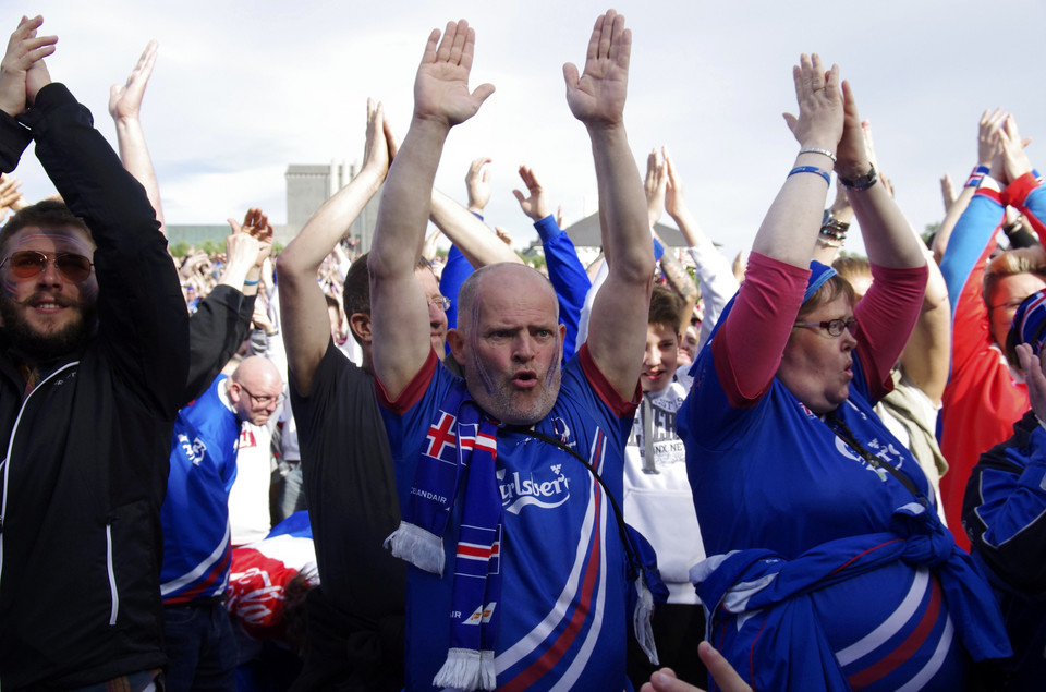 Fans of Iceland watch the Euro 2016 match between Iceland and France in France, at a public screening in Reykjavik