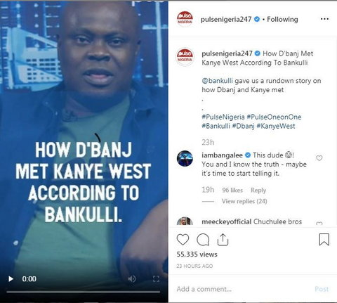 D'Banj responds to Bankulli's story about how he met Kanye West. (Instagram/PulseNigeria247)