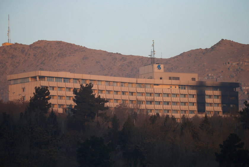 The Intercontinental Hotel is seen during an attack in Kabul, Afghanistan
