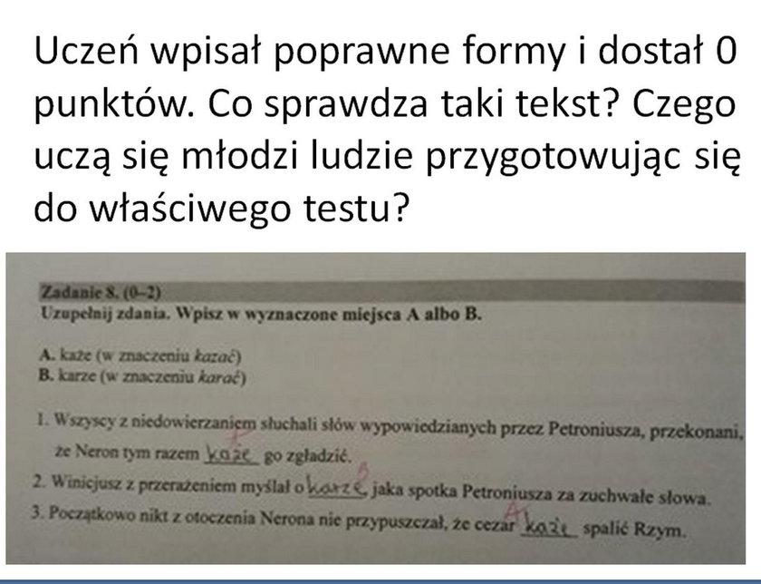 Sytuacja miała miejsce w jednej z polskich szkół, podczas próbnego egzaminu ósmoklasisty.