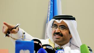 OPEC President, Qatar's Minister of Energy Mohammed bin Saleh al-Sada speaks during a news conference in Algiers