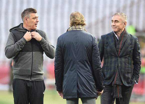 Savo Milošević, Milan Kalinić i Boško Đurovski na stadionu