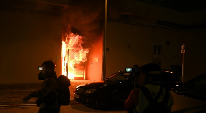 Proposed Hong Kong virus quarantine building firebombed during protest