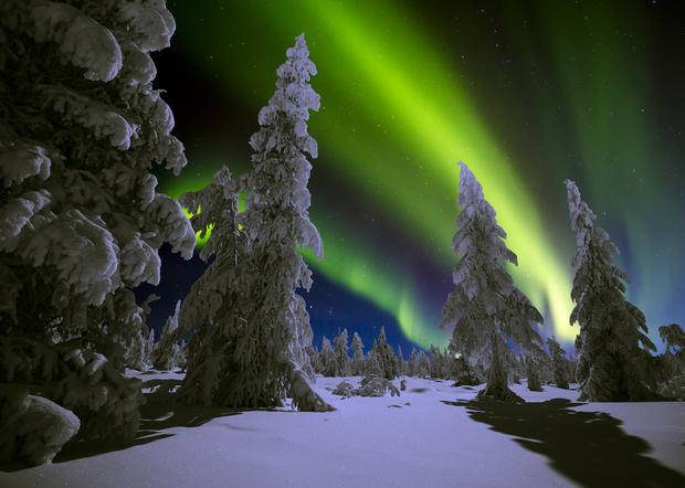 Zorza polarna na Syberii