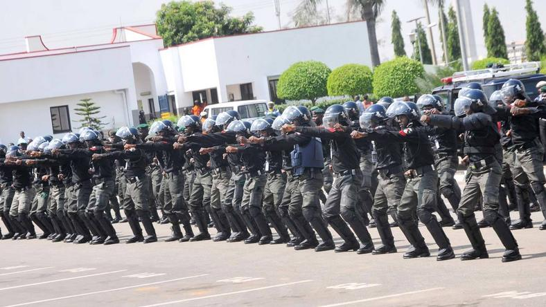 Men of the Nigeria Police Force during training (Guardian)
