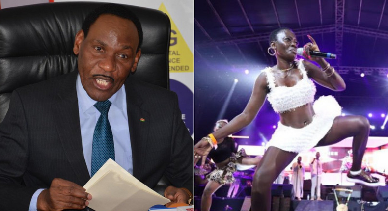 KFCB CEO Ezekiel Mutua (L) and Esther Akoth alias Akothee (R)