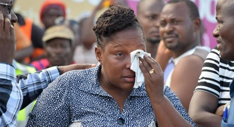 An emotional Rose Mueni after learning of her husband's death