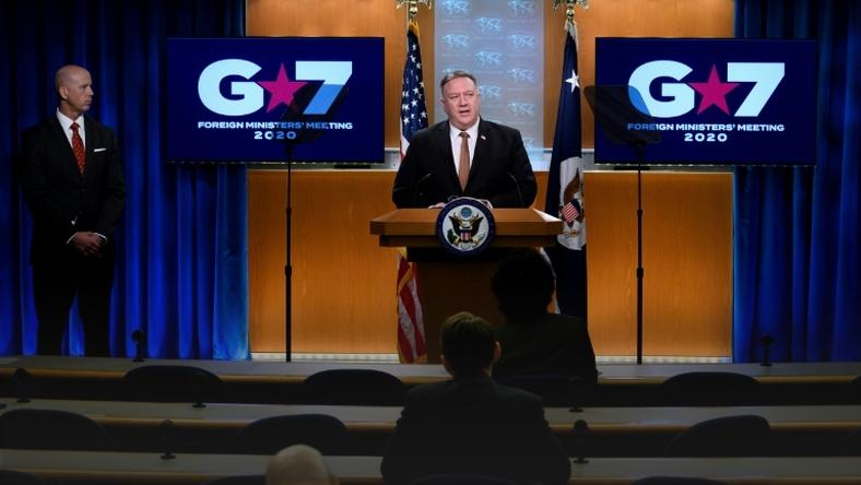 US Secretary of State Mike Pompeo speaks after virtual Group of Seven talks to journalists, who are spaced out in line with COVID-19 precautions