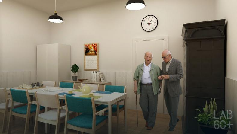 Pokój dzienny w domu dla seniorów w Pieninach – projekt fundacji LAB 60+