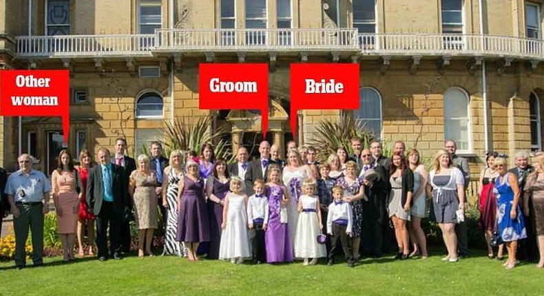 Heartbroken Michelle Young, pictured centre, was dumped by her husband Alan Hoffman, centre, three months after her wedding - for guest Gemma Hadley, third from left