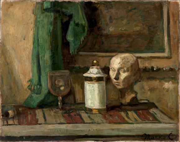 Marko Čelebonović, Mrtva priroda s gips. glavom i zelenom zavesom, 1936, 73x92cm