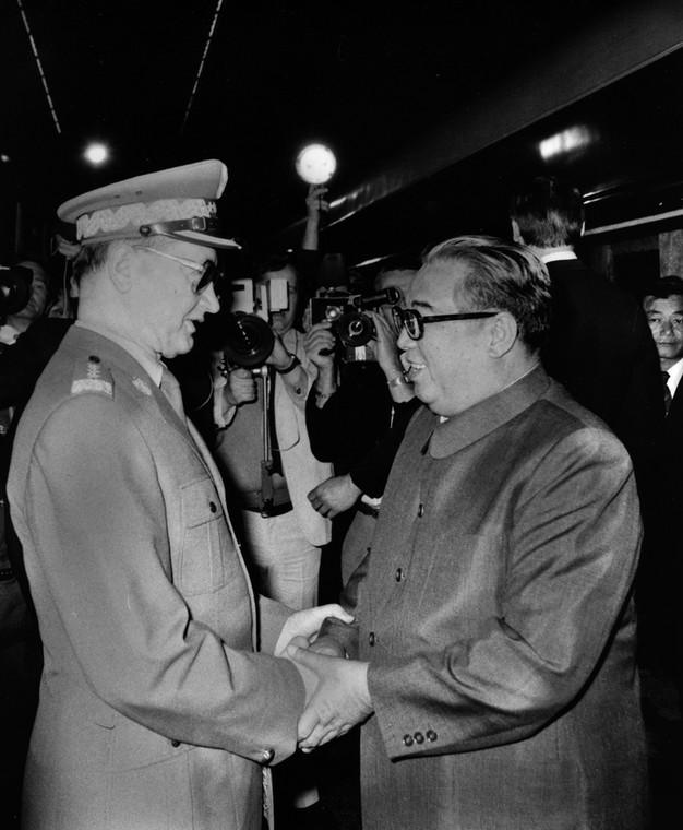 Generał Wojciech Jaruzelski i dyktator Korei Północnej Kim Ir Sen