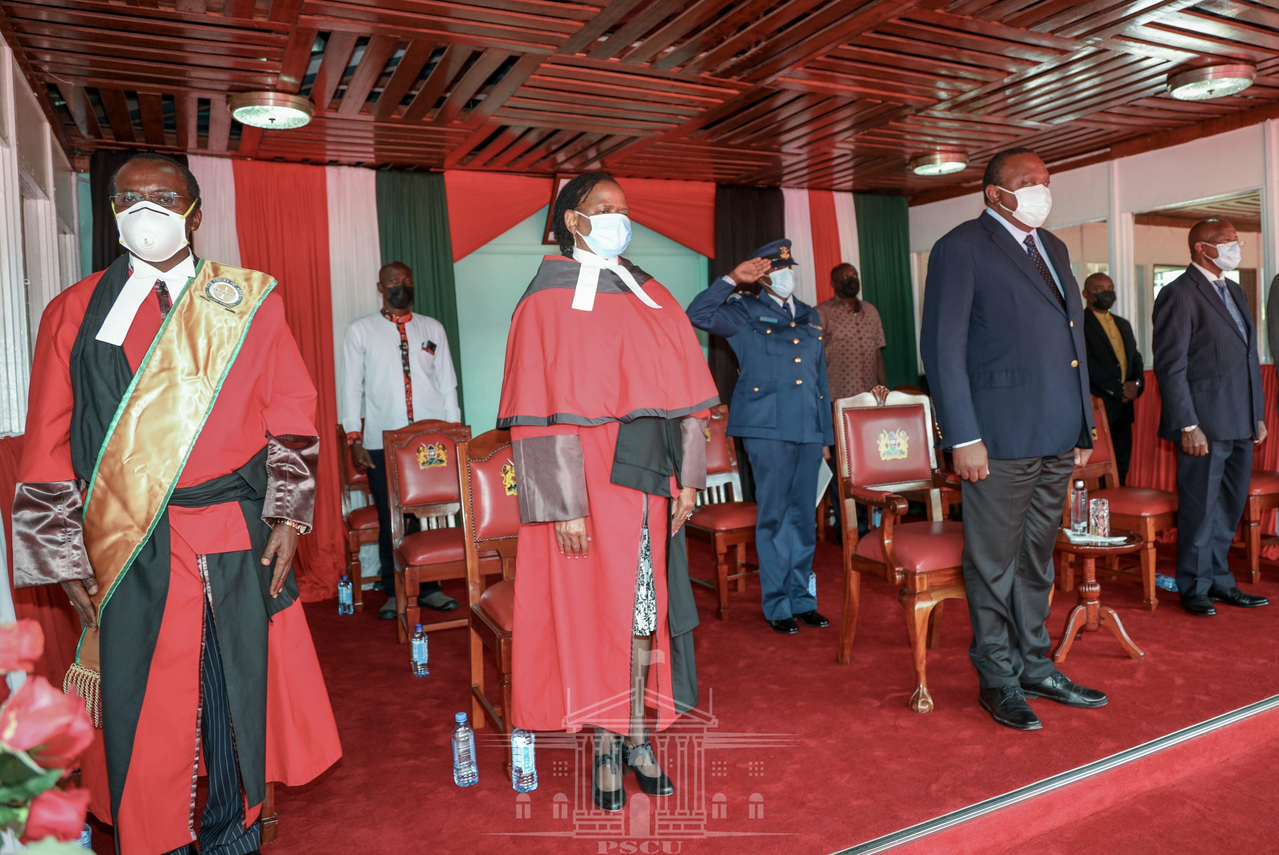 President Uhuru Kenyatta with Chief Justice Martha Koome during swearing in of 34 judges