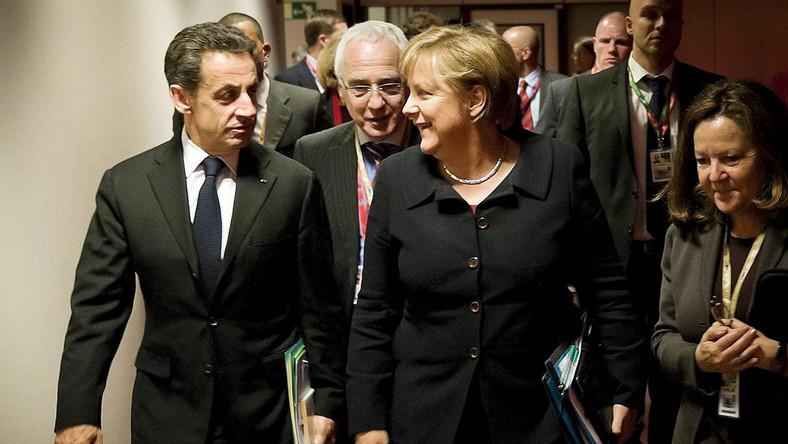 Nicolas Sarkozy i Angela Merkel na szczycie w Brukseli