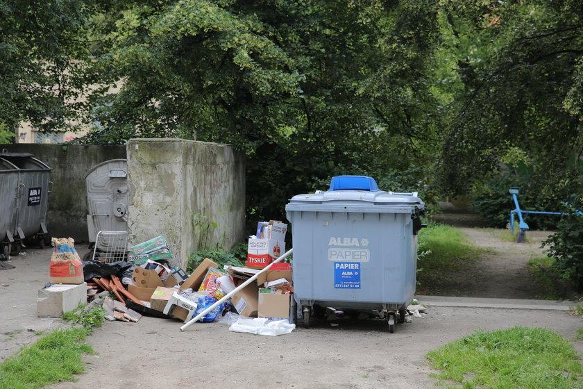Śmieci przed kontenerem na odpady
