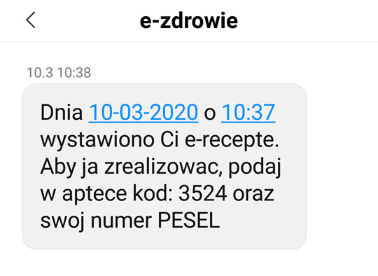 e-recepta, sms