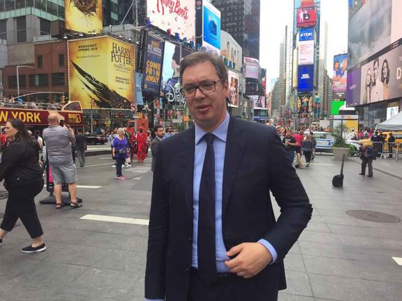 Vučić na Tajms skveru u Njujorku