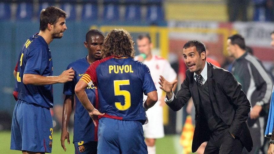 Pep Guardiola w trakcie meczu Wisła Kraków - FC Barcelona