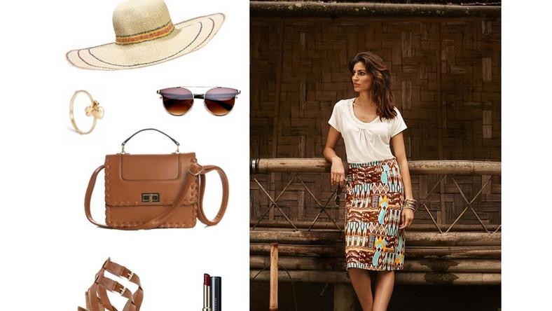 Każda Mama wie, że stylizacja powinna być przede wszystkim wygodna, ale może być również stylowa i elegancka. Nasza propozycja to elegancka, biała bluzka, do tego ołówkowa spódnica koniecznie w ciekawy wzór i wygodne sandały. Wbrew pozorom kolor brązowy to świetny wybór również wiosną.