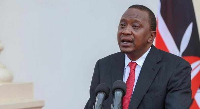 President Uhuru Kenyatta during a past address at State House, Nairobi (Twitter)