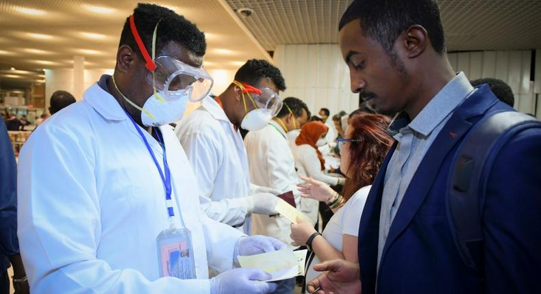 Travelers getting screened for the coronavirus infection at the Addis Ababa airport  (EPA-EFE/Shutterstock)